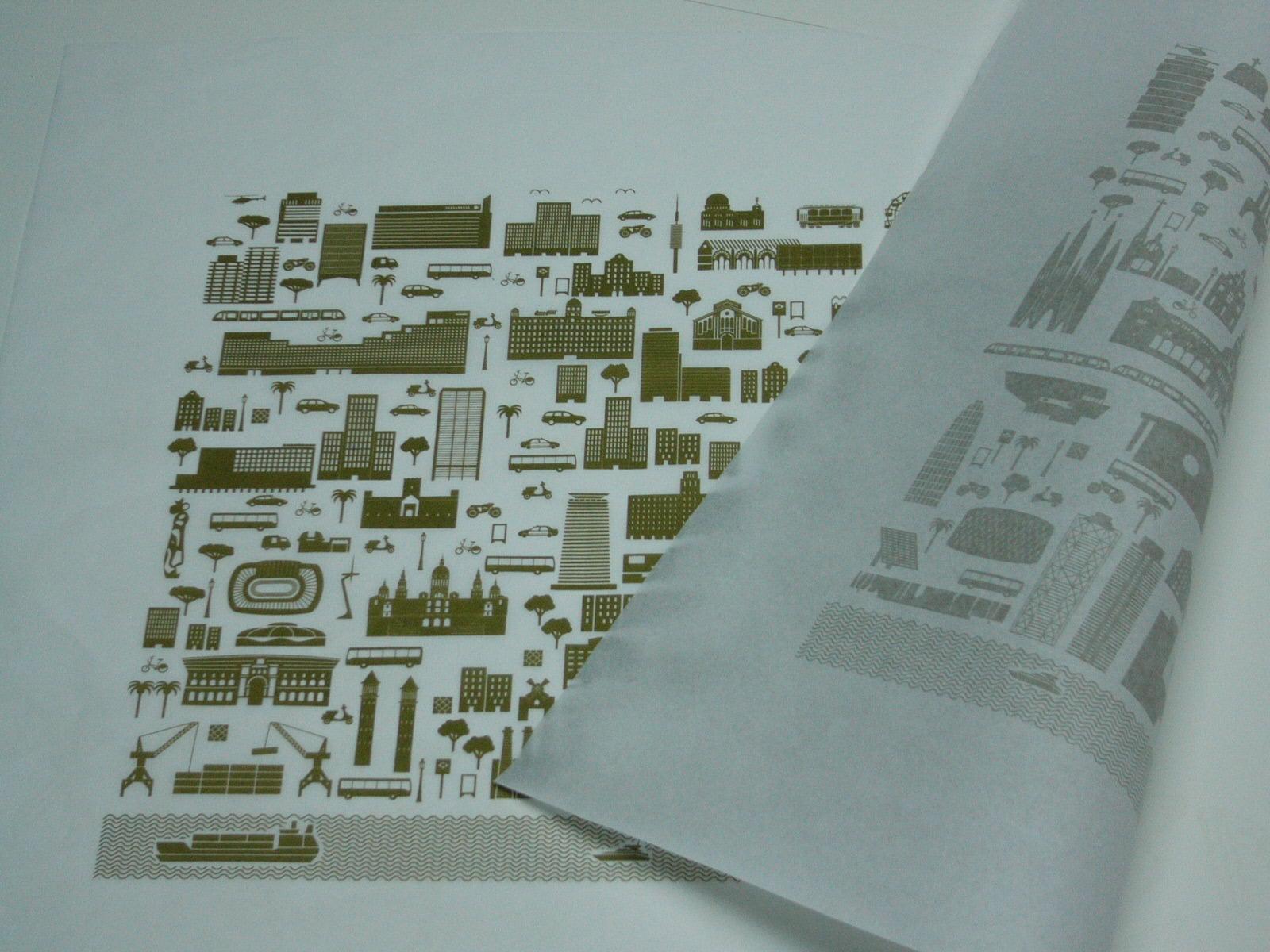 Pictogramas Ciudad de Barcelona realizados en art Plus serigrafía Barcelona sobre papel seda de muy bajo gramaje