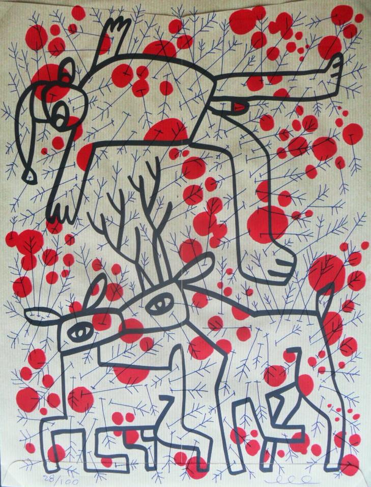 Felicitación de Navidad diseñada por Míkel Urmeneta (Kukuxumusu) y serigrafiada por Art Plus Serigrafía. Realizada en serigrafía y en serie limitada de 100 ejemplares firmados y numerados por Míkel Urmeneta