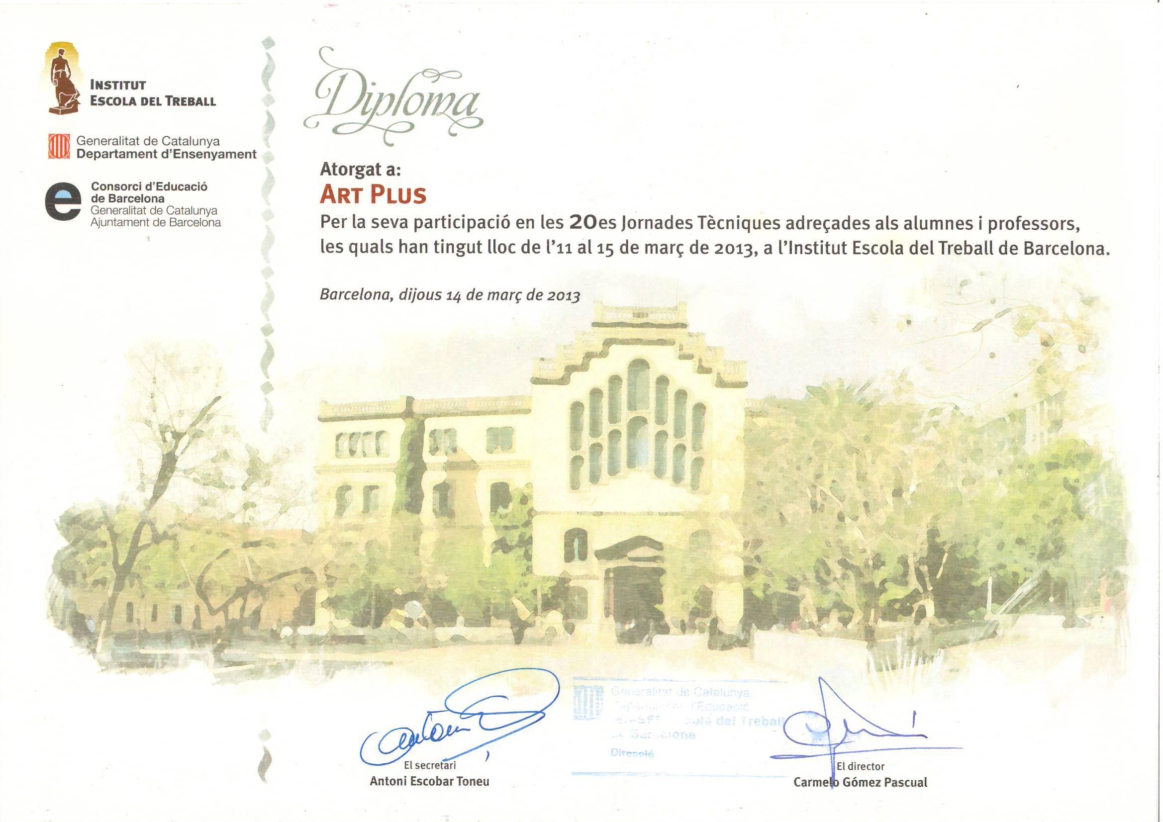 Diploma otorgado por la Escola del Treball a Art Plus por su participación en las XX Jornades Tècniques